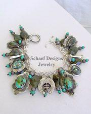 Schaef Designs Labradorite Blue Turquoise & Sterling Silver Charm Bracelet | New Mexico