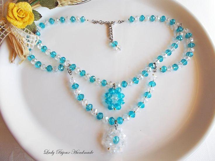 Collana collier di cristallo sfaccettato nei colori crystal e azzurro tiffany, by Lady Bijoux Handmade, 14,00 € su misshobby.com