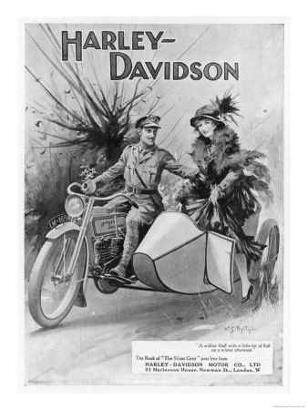 An Advertisement for Harley- Davidson Showing a Soldier Taking His Lady Friend…                                                                                                                                                                                 Mais