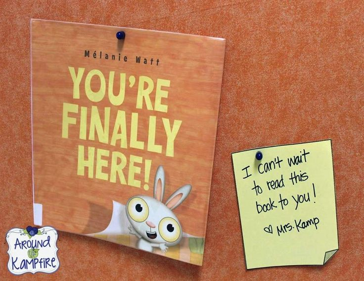You're Finally Here! by Melanie Watt, author of Scaredy Squirrel, is such a perfect book for the first day of school!  Visit this post to see all the fun ways I used this book for our whole first week of school! (I had this little teaser on my hallway bulletin board for meet the teacher night!) Book available online at Indigo Books.