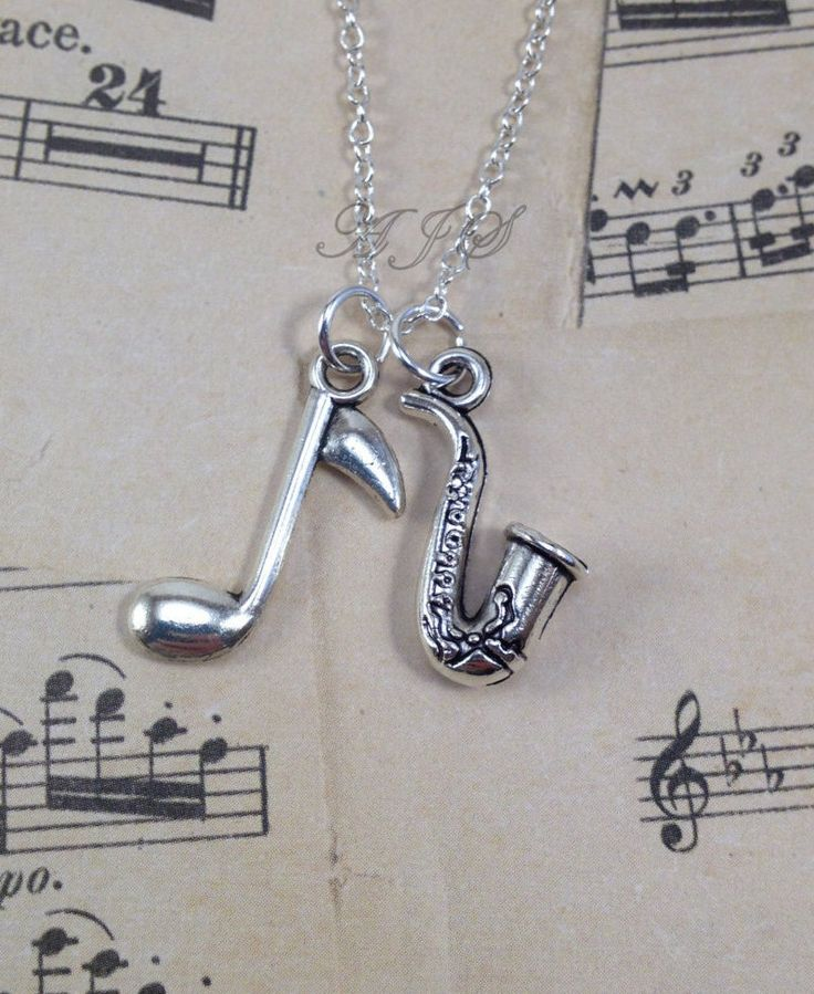 Saxophone Jewelry, Silver Saxophone Necklace, Sax Jewelry, Gift for Jazz Musician Gift, Band Student Instrument, Music Note Necklace 151 by aJoyfulSurprise on Etsy