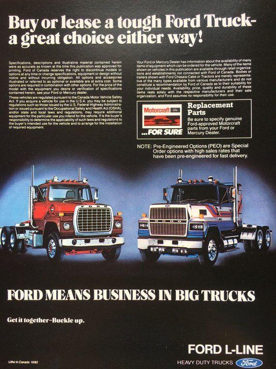 1982 Ford L Line 800 9000 Series Trucks Brochure Advertising Vintage Sales Brochure Truck Enthusiast Big Ford Trucks Big Rig Trucks Trucks