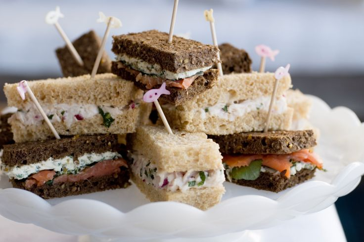 Finger sandwiches will never be boring with the tasty combination of chicken, mint and radishes.