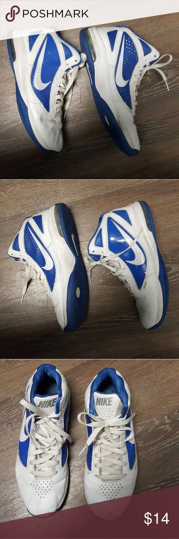 Firm Mens 10 retro nike high top blue and whote Worn in some places but not done mens size 10 nike sneakers as pictured. Shoes laces good condition soles firmly attached some scuffs Nike Shoes Sneakers