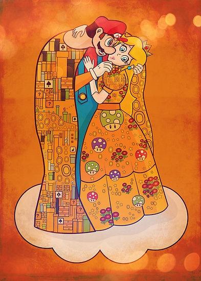 Gustav Klimt - Mario and Princess - The Kiss