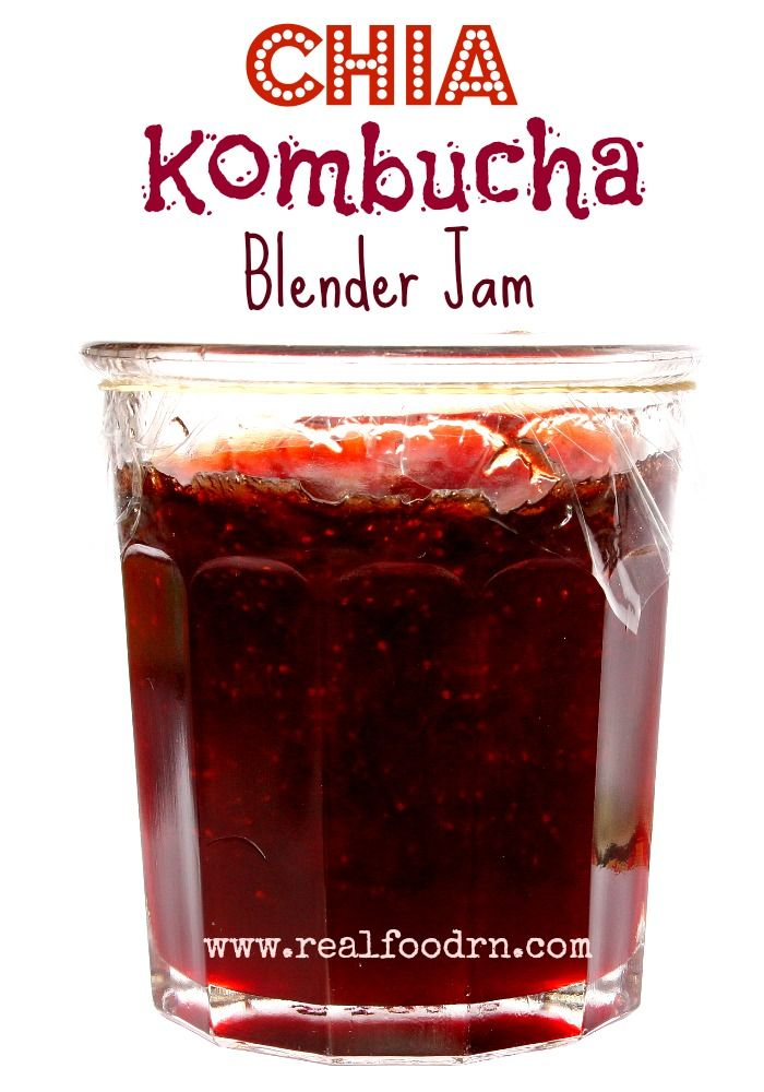 Chia Kombucha Blender Jam. No cooking required and it's ready in minutes. Healthy jam, sweetened without using sugar!
