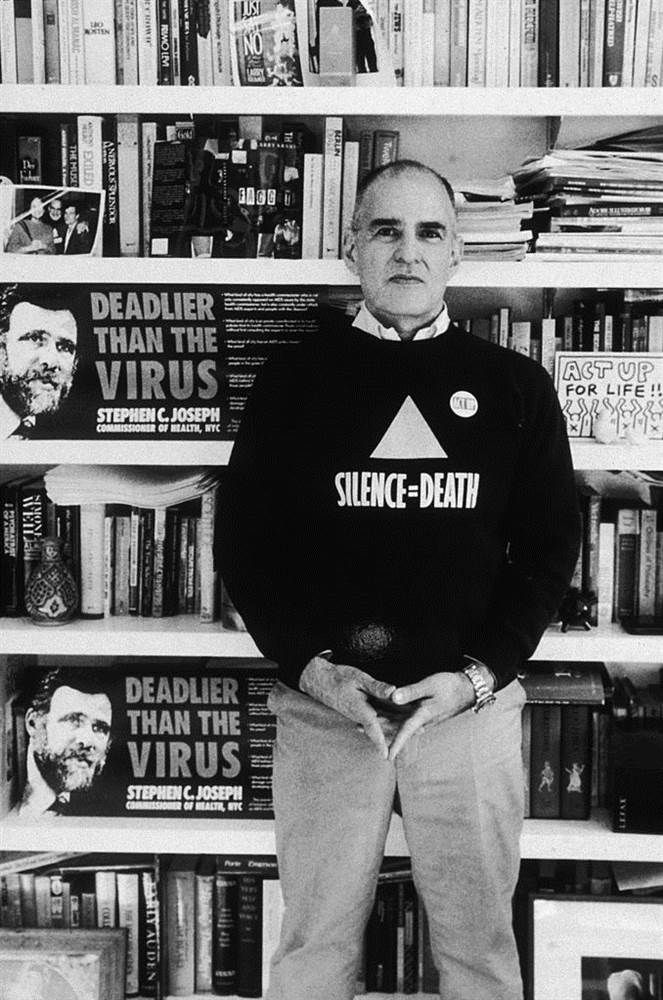 Larry Kramer, founder of GMHC, at his home, 1989