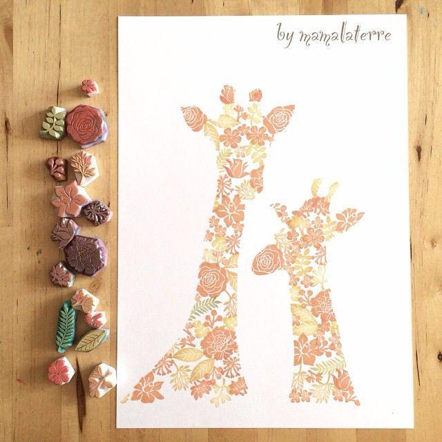 No 2 Giraffes...... hand printed on 250 g white paper so much to made this #hanco #hanko #hkshop #handmade #handicraft #hkhandmade #handcravedstamp #handprinted #stampart #hongkong #bymamalaterre #eraserstamp #rubberstamp #giraffe