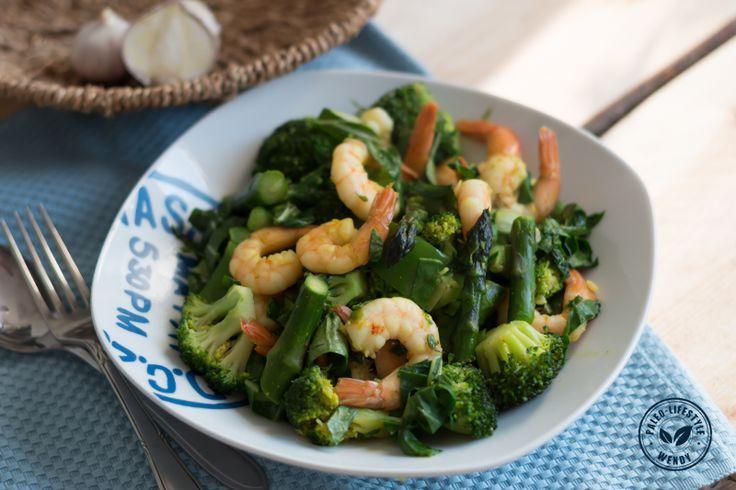 Gewokte gamba's met groene groenten