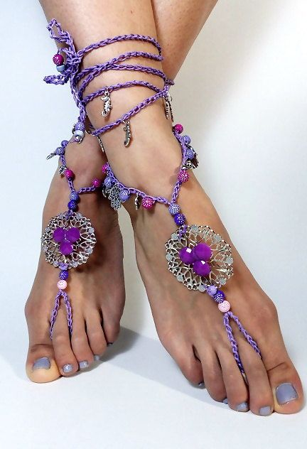 Barefoot Sandals, Beach Jewelry,Hippie Sandals, Foot Jewelry, festival accessories, yoga toe, anklet, barefoot sandles, crochet sandals