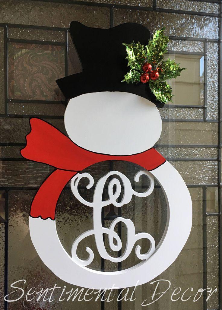 Adorable snowman door hanger added to my #etsy shop: Painted Snowman Door Monogram, Medium,Christmas Wreath Alternative,Front Door Initial Wreath,Snowman Decoration,Monogram Snowman Door Hanger #homedecor #christmas #entryway #frontdoorinitial #doormonogram #wreathalternative #snowman #christmaswreath #snowmanwreath #snowmandoorhanger