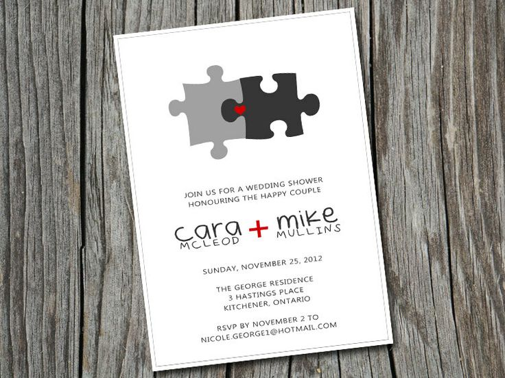 DIY printable custom bridal/wedding shower puzzle invitation cards. $10.00, via Etsy.