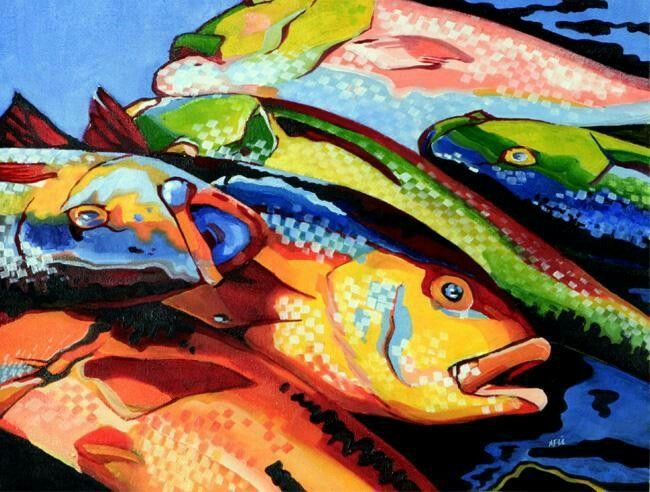 Fish by Afzal Shafiu Hassan, Oil On Canvas.
