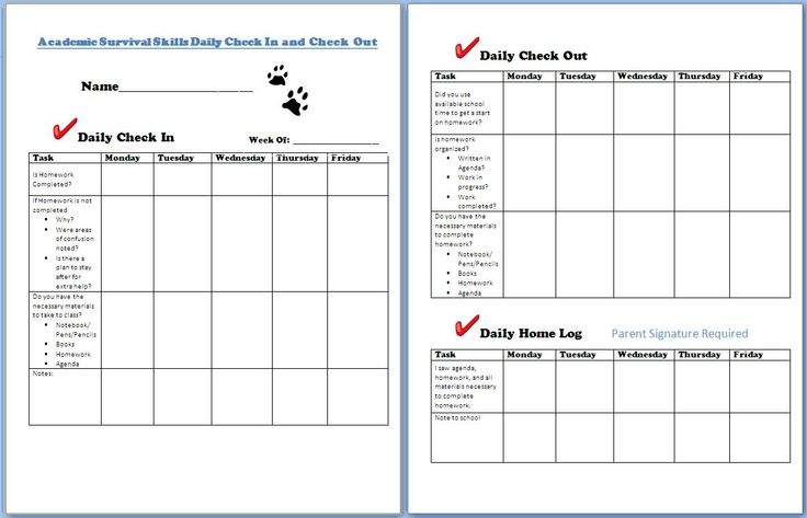 A check in and check out form to help with academic intervention --  RtI Tier 2 strategy.