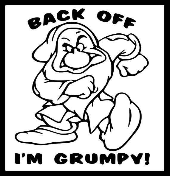Back Off I M Grumpy Iron On Transfer Image Graphics For T Shirts Pillowcases Bags Party Favors D Funny Disney Characters Disney Funny Disney Decals