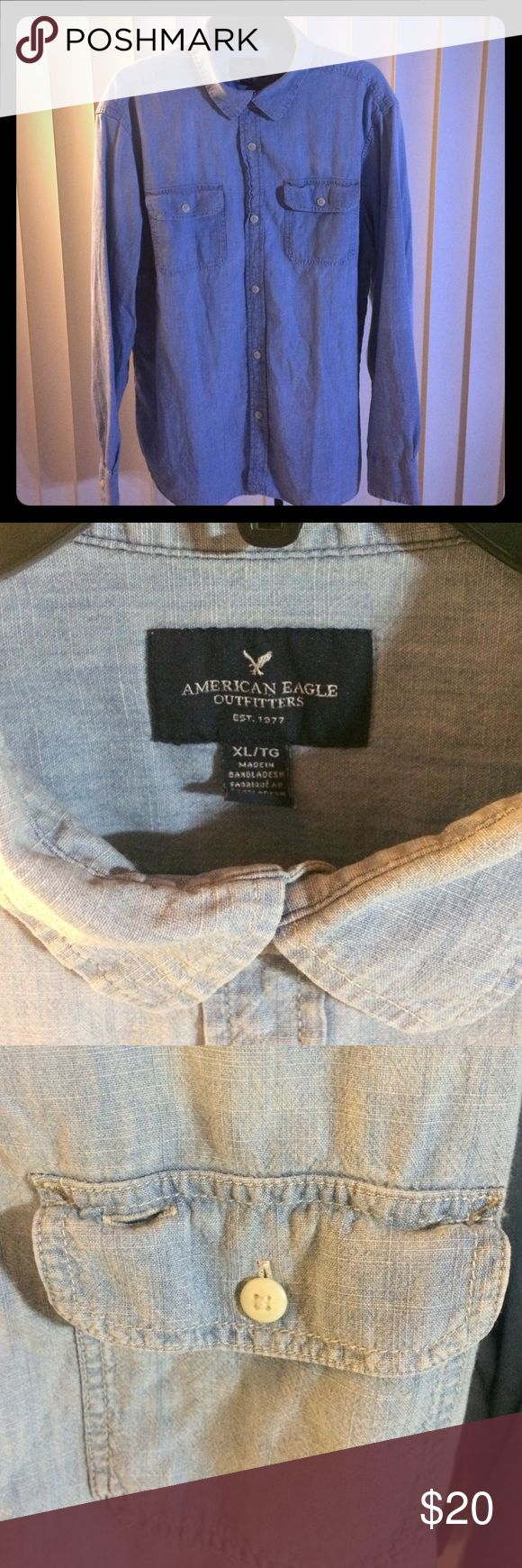 Light Denim Button Up American Eagle Men's size X-large. Used, thin denim shirt. American Eagle Outfitters Shirts Polos