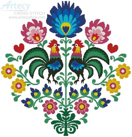 Artecy Cross Stitch. Polish Folk Art with Roosters Cross Stitch Pattern to print online.                                                                                                                                                      More