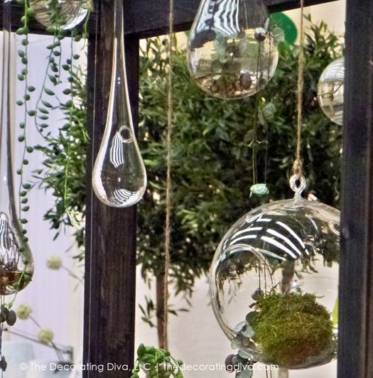 17 best images about glass orb decor on pinterest modern for Outdoor hanging ornaments