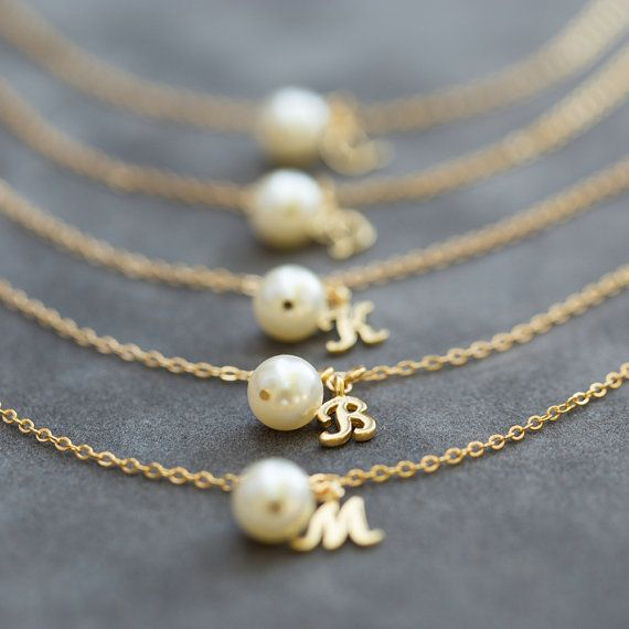 Bridesmaid Bracelet, Pearl & Initial Jewelry Gift Set of 5, Gold Initial Charm Bracelet, Personalized Bridesmaid Jewelry