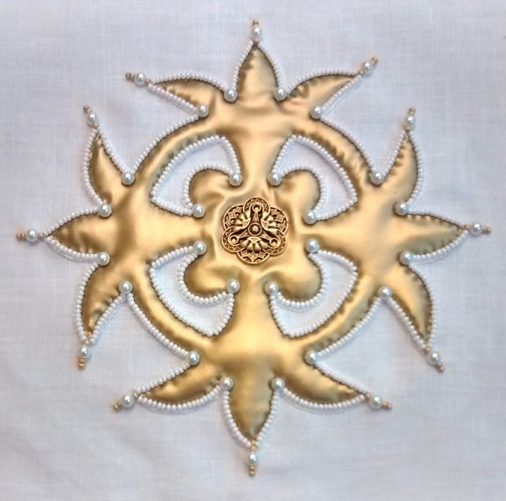 """Ecclesiastical chalice pall design; 100% linen ground fabric, gold cosplay fabric from Yaya Han at Joann's, tridentine button, pearl colored seed beads, small pearl shaped glass beads, gold seed bead accents, 6"""" x 6"""" embroidered area on 7"""" x 7"""" pall; 9.22.17"""