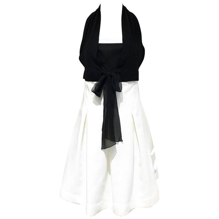 90s CHANEL black and white cocktail dress | 1stdibs.com