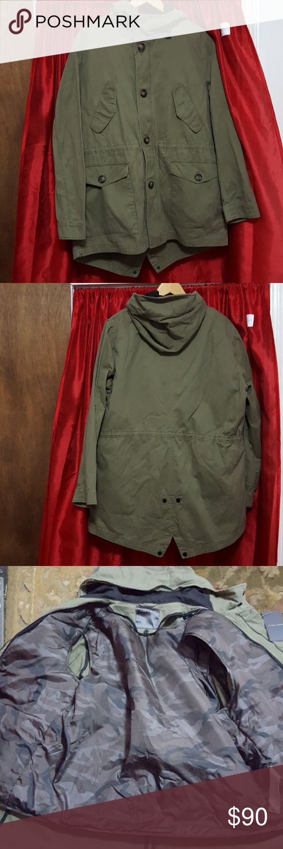 ZARA MAN HOODED pocketed fully lined PARKA ZARA MAN army green with zip out lining that can be worn as a vest. HOODED, pocketed PARKA zip or button up. Zara Man Jackets & Coats Military & Field