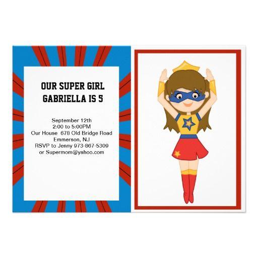 Super Girl Hero Birthday Invitation