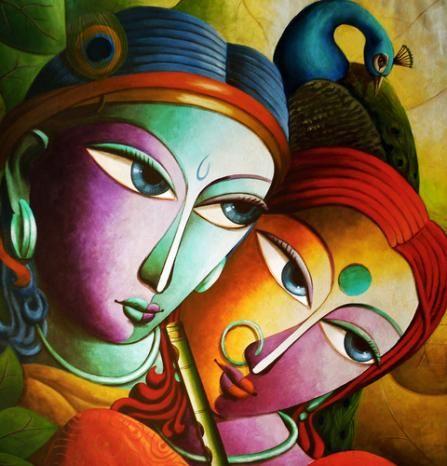 "Beautiful Indian canvas paintings at IndianArtCollectors.com! ""Krishna@16"" by Dhananjay Mukherjee Acrylic On Canvas, Size(inches): 34X34 See more artworks by Dhananjay Mukherjee at: http://www.indianartcollectors.com/artist/DhananjayMukherjee"