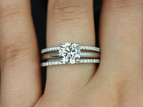 alberta barra dia 14kt white gold round fb moissanite and diamond solitaire trio wedding set double wedding bandsthin - Double Band Wedding Ring