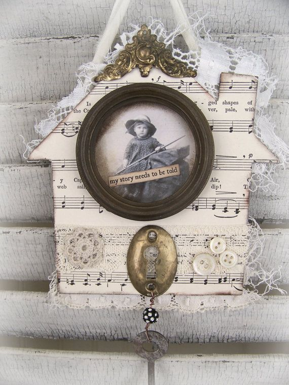 Original Vintage Collage Vintage  Home  Collage Vintage Mixed Media Altered Art  by QueenBe