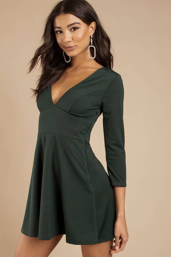 9d585ae4e Stay classy AF in the Maryann Emerald Plunging Skater Dress. This elegant  skater dress features
