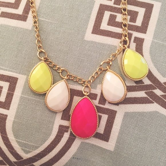 Pink and Yellow Statement Necklace Pink, yellow, and white statement necklace. Never worn! Jewelry Necklaces
