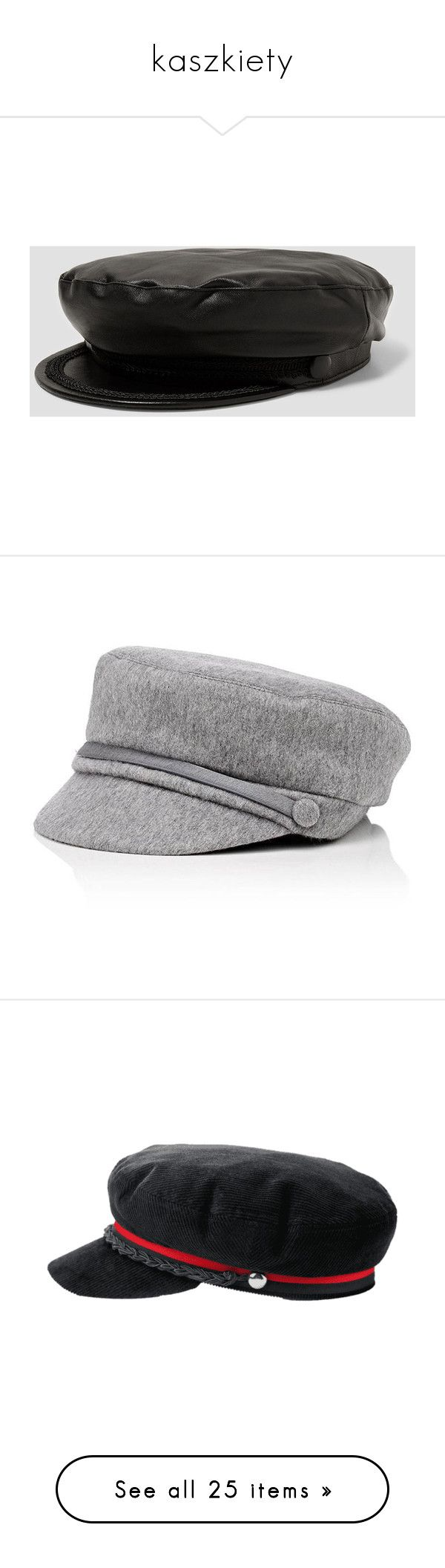 """""""kaszkiety"""" by margo47 ❤ liked on Polyvore featuring accessories, hats, beanie cap hat, leather beanie hat, cap hats, leather cap, leather hat, light grey, gatsby cap and newsboy caps"""