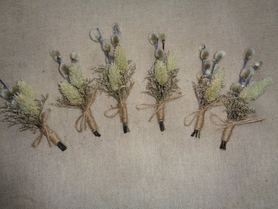 Grey dried flower spring wedding boutonnieres set of 6 groom wedding pin ,rustic wedding  buttonholes ,pussy willow pin , groomsman decor