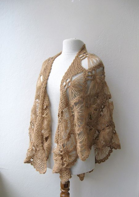 Crochet+Triangle+Shawl | Hand crochet triangle lace shawl wrap in CAMEL Holiday Valentine ...