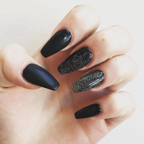 Fall Nails, Black and Gold  UV Gel Extensions