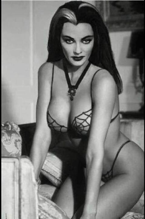 Lily Munster. Spider web bikini! Perfection!