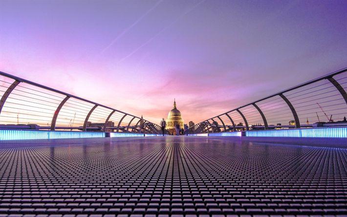 Lataa kuva 4k, Millennium-Silta, Englanti, Lontoo, UK