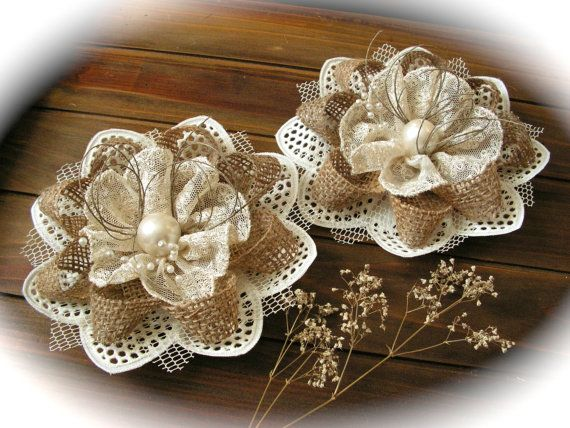 burlap flowers to make - Google Search