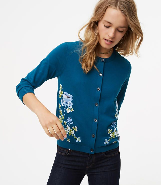Primary Image of Blossom Embroidered 3/4 Sleeve Signature Cotton Cardigan