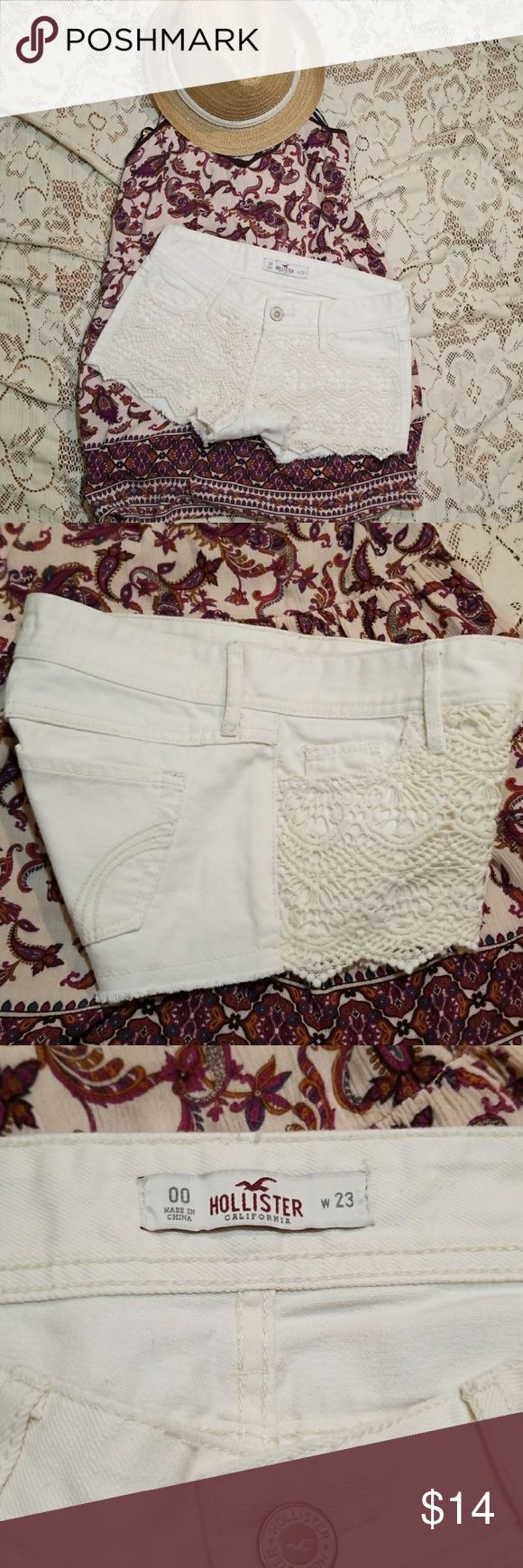 """Hollister 23 00 cream lace shorts denim crocheted Hollister brand  Size 23 00 Pretty cream color Lace embroidered crocheted front Demin like material Excellent preowned condition, nearly new Material tag removed, i believe these are 100% cotton  Smoke free home with pets  6"""" rise, 1.5"""" inseam Hollister Shorts Jean Shorts"""