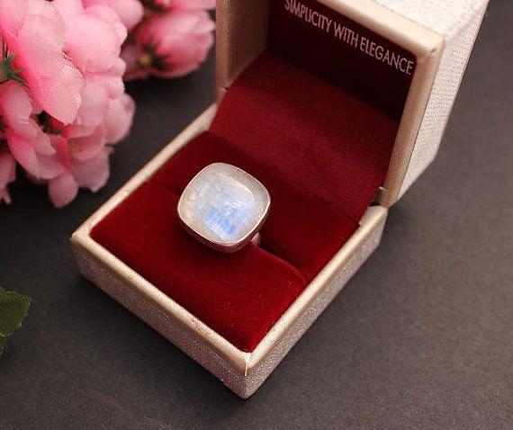 Moonstone ring  Designer ring  Bezel ring  Custom by Studio1980, $85.00