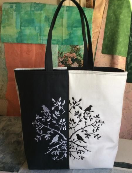 Advanced Embroidery Designs. Black and White Tote Bag with Owl Embroidery