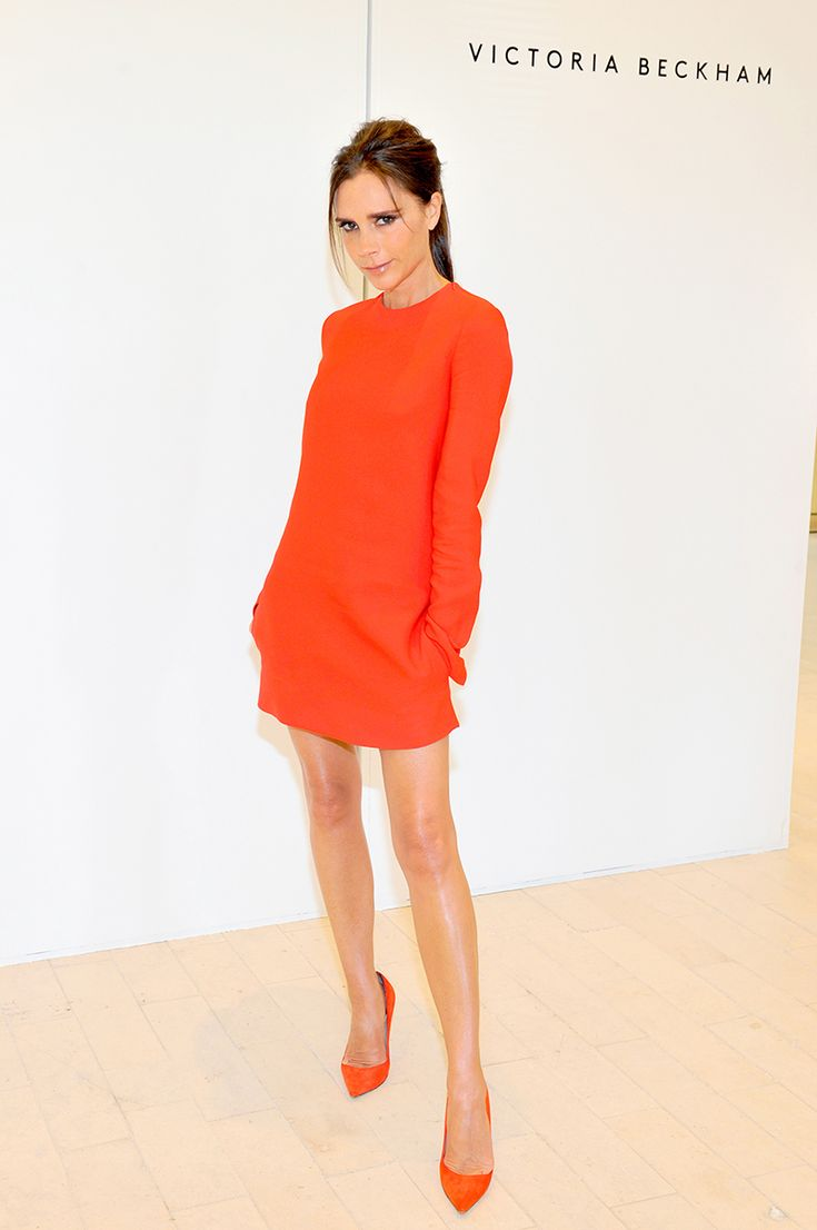 Designer Victoria Beckham cuts a lean figure in the hottest color of the season with expert results.