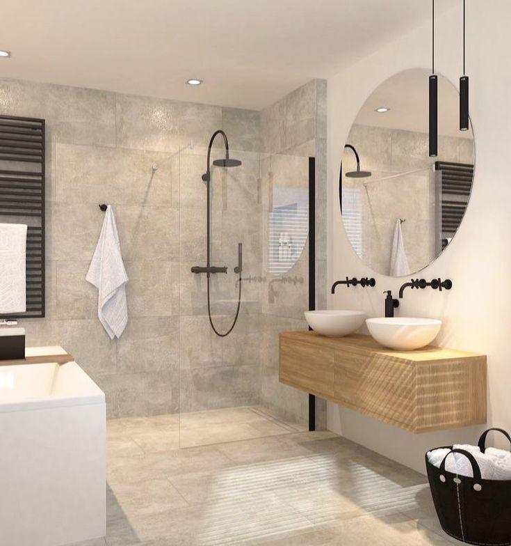 Scandinavische badkamer inrichting inspiratie in modern design met houten meubel en zwart sanitair.
