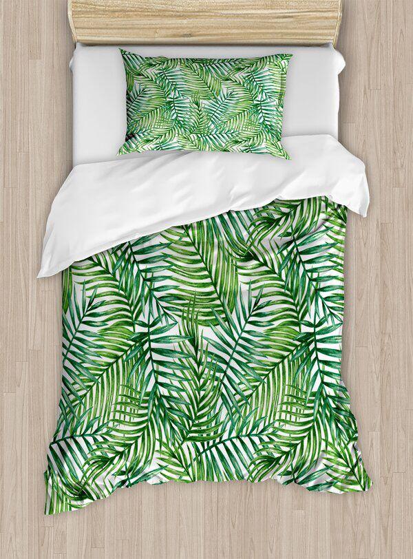 Leaf Watercolor Print Botanical Wild Palm Trees Leaves Design Duvet Cover Set Duvet Cover Sets Duvet Covers Palm Tree Bedding