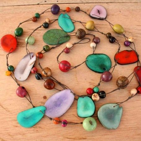 Long Multicolor Tagua Beaded Necklace  - Very unusual and multi purpose: http://www.artisansintheandes.com/beaded-necklaces-bib-necklace-chunky/beaded-necklaces-multi-tagua-long-chunky