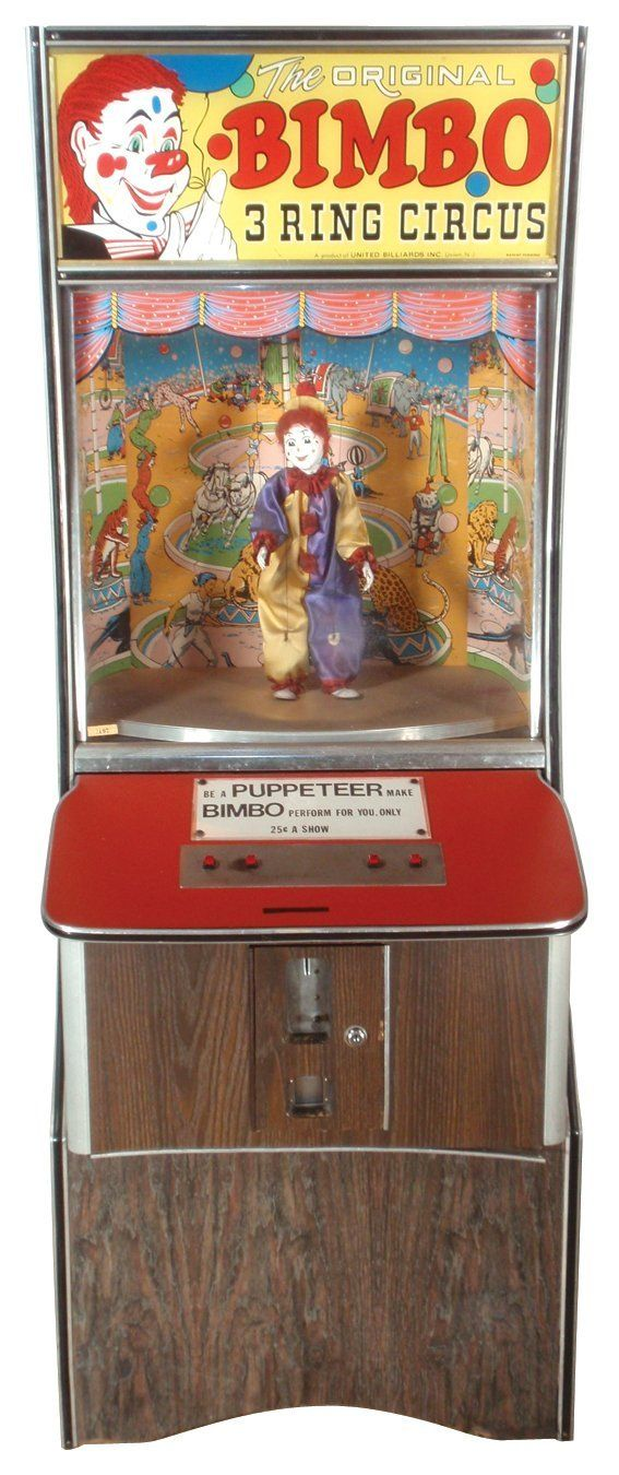 "Coin-operated arcade machine, Bimbo 3 Ring Circus, dancing clown w/music, 25 cent play, VG working cond, 68""H x 26""W."