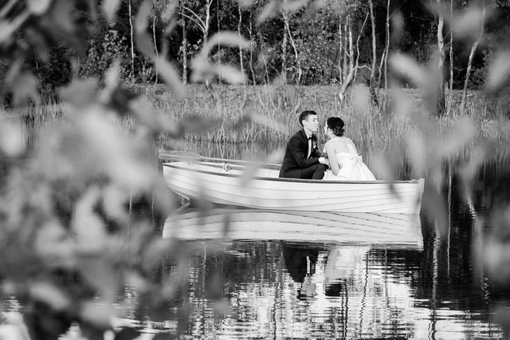 Bride and Groom in Chateau Dore boat