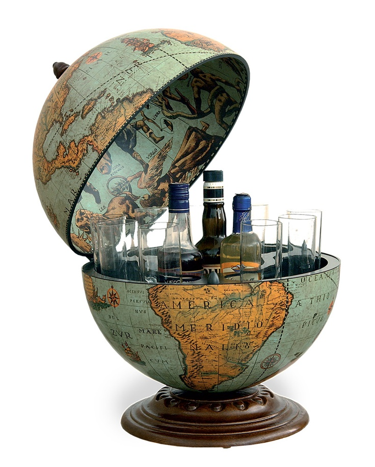 Globe with drinks cabinet